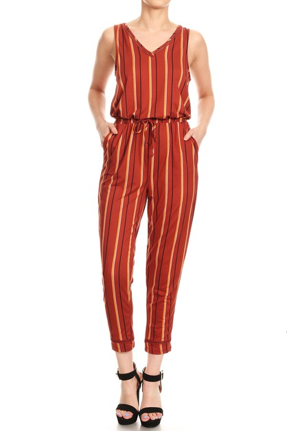 Stripes Jumpsuits Boho Pockets Soft - orangeshine.com