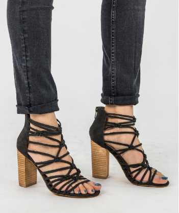 Chunky High Heel Ankle Strap Sandals - orangeshine.com
