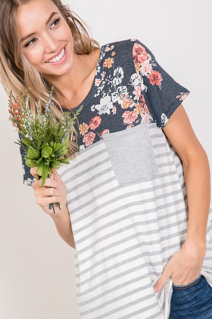 COLOR BLOCK FLORAL STRIPED TOP  - orangeshine.com