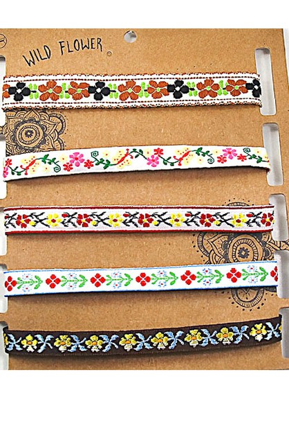 Assorted Floral Pattern Chokers Set - orangeshine.com