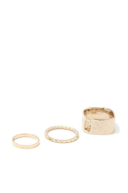 WIDE METAL BAND RING SET - orangeshine.com