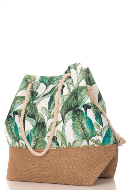 Tropical Leaves Drawstring Bag - orangeshine.com
