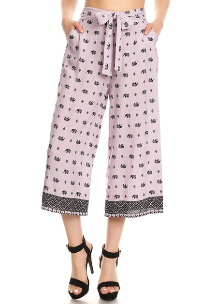 Elephant Crop Palazzo Wide Leg Pants - orangeshine.com