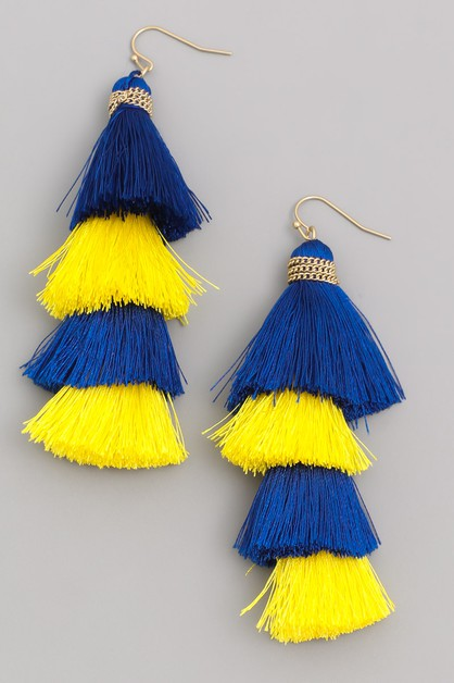 Two Tone Layered Tassel Earrings - orangeshine.com