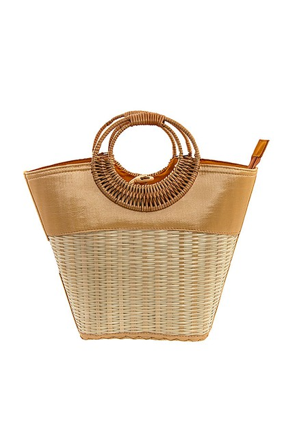 STRAW PATTERN MINI TOTE  BAG  - orangeshine.com