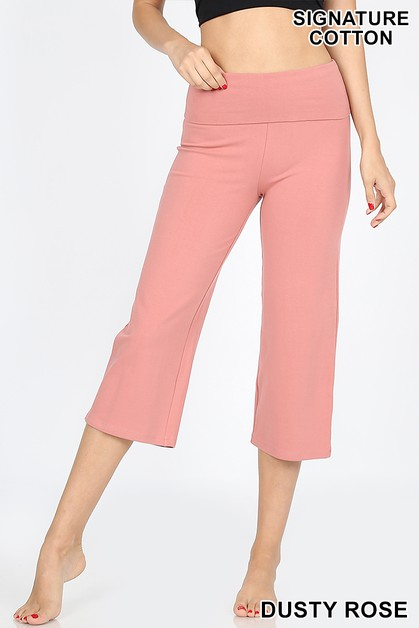 FOLD-OVER YOGA CAPRI PANTS - orangeshine.com