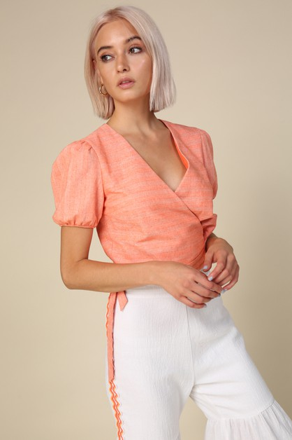 Zoe Wrapped Top - orangeshine.com