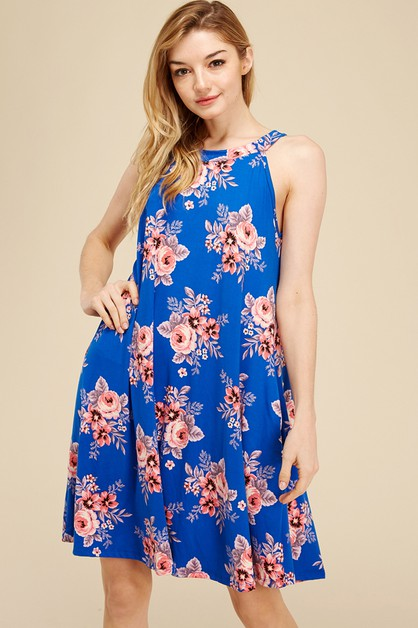 FLORAL HALTER NECK POCKET DRESS - orangeshine.com