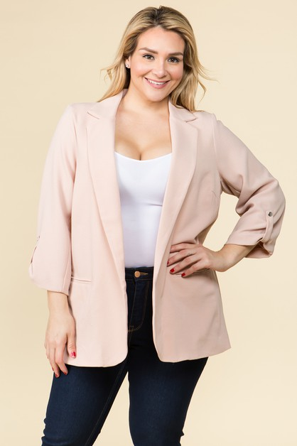 PLUS SIZE BLAZER WITH FRONT POCKETS - orangeshine.com