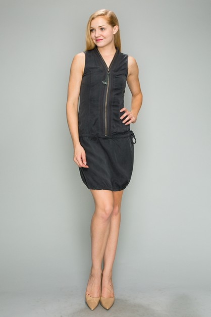 Tencel Zip Up Drawstring Waist Dress - orangeshine.com