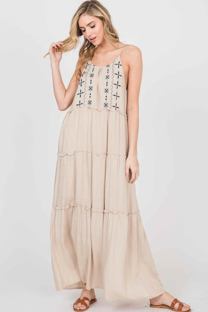 EMBROIDERY  SLEEVELESS DRESS  - orangeshine.com
