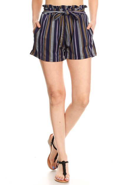 Navy Stripes Paper bag Shorts Ruffle - orangeshine.com
