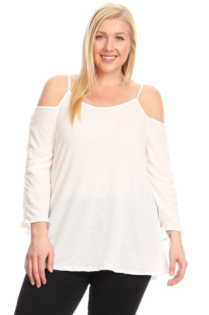 PLUS SIZE DRAWSTRING TIE SLEEVE TOP - orangeshine.com