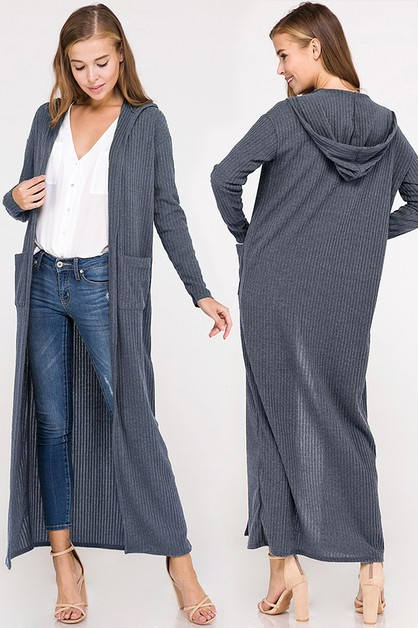 Everyday Ribbed Pocket Maxi Cardigan - orangeshine.com