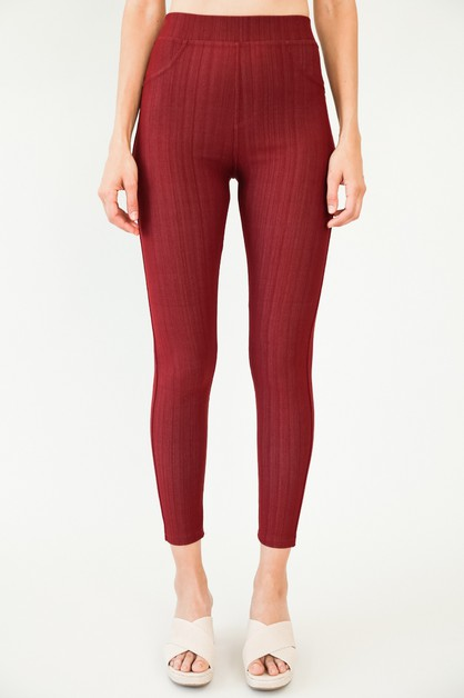 HIGH WAIST ELASTIC BAND JEGGINGS - orangeshine.com