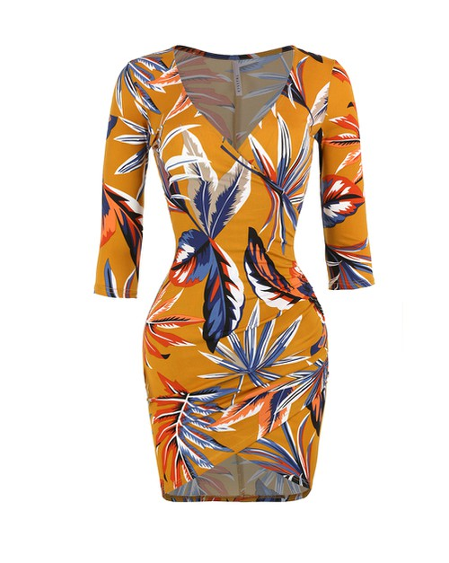 TROPICAL PRINT V-NECK MINI DRESS - orangeshine.com