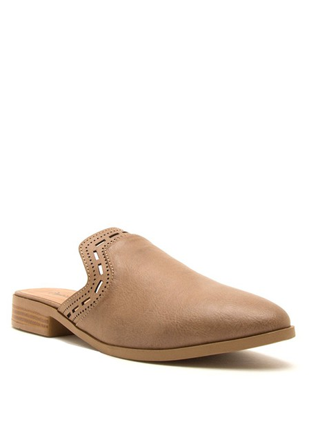 PERFORATED PU SLIP ON FALT MULE - orangeshine.com