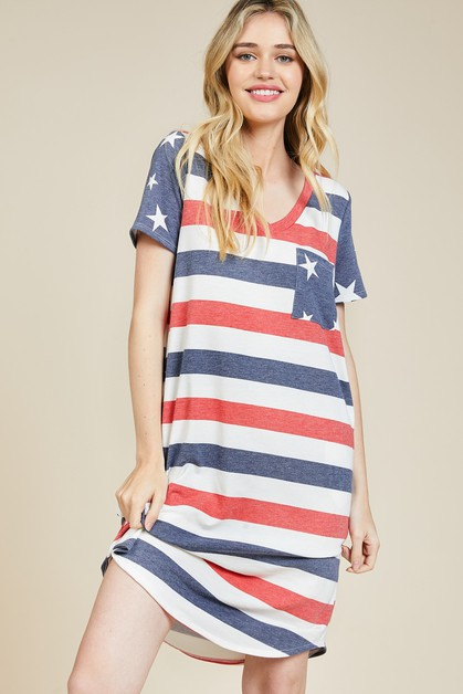Patriotic V-Neck Dress - orangeshine.com