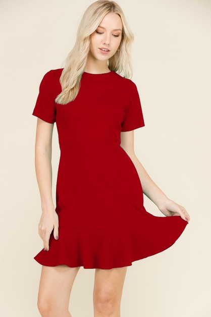 SHORT SL FLUTED HEM DRESS - orangeshine.com