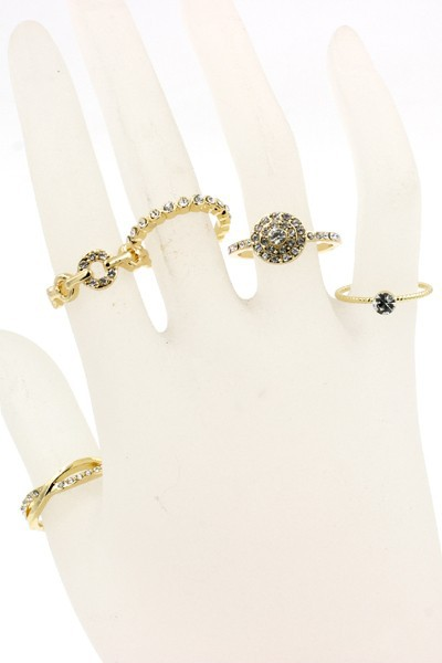 RHINESTONE CIRCLE METAL RING SET - orangeshine.com