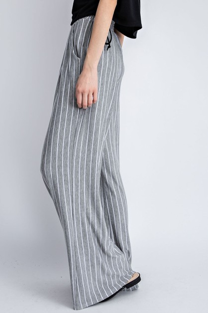 Striped Long Pants with Pockets - orangeshine.com