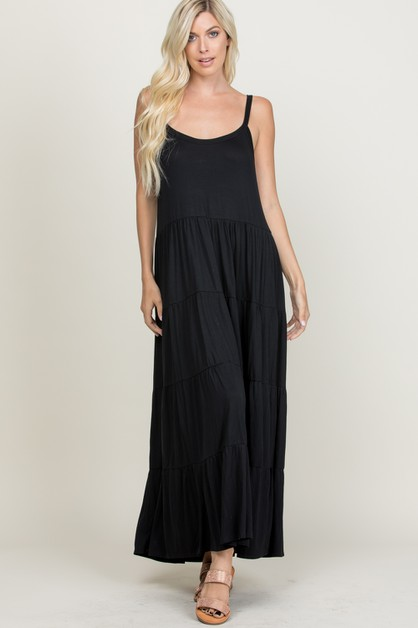 SOLID SLEEVELESS CRINKLED MAXI DRESS - orangeshine.com