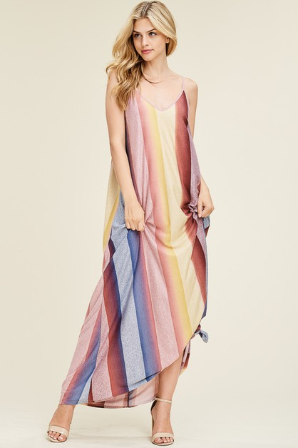 Sleeveless Striped Maxi Dress - orangeshine.com