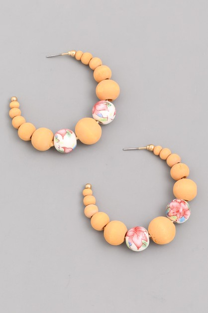 Floral Beaded Hoop Earrings - orangeshine.com