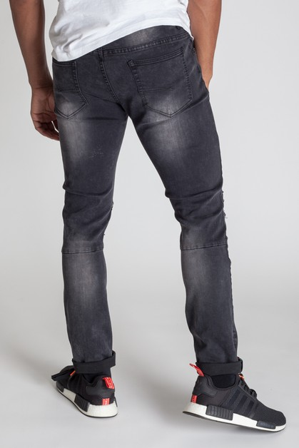 DESTROYED ANKLE TAPE JEANS - orangeshine.com