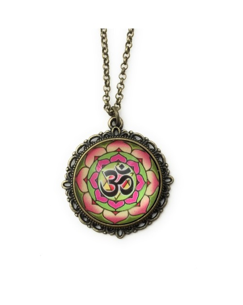 Ohm Symbol Necklace  with Lotus - orangeshine.com