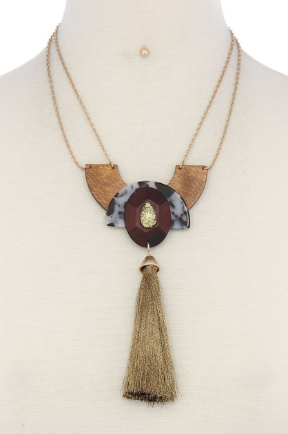GEOMETRIC SHAPE TASSEL NECKLACE - orangeshine.com
