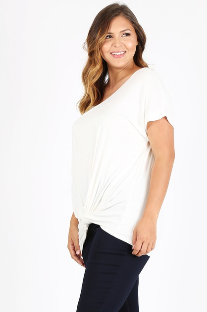 FRONT TIED PLUS SIZE TOP - orangeshine.com