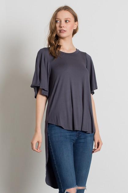 Knit Solid Hi-Low Loose Fit Top - orangeshine.com