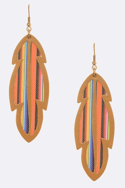 Aztec Cutout Faux Leather Earrings - orangeshine.com