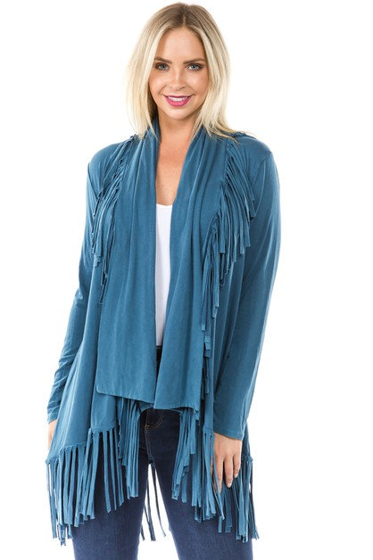 T PARTY WOMEN LONG FRINGE CARDIGAN - orangeshine.com