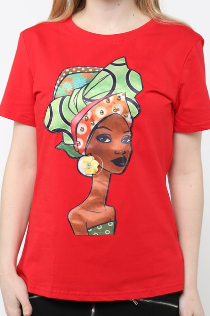 T SHIRT WITH AFRICAN GIRL PATCH - orangeshine.com