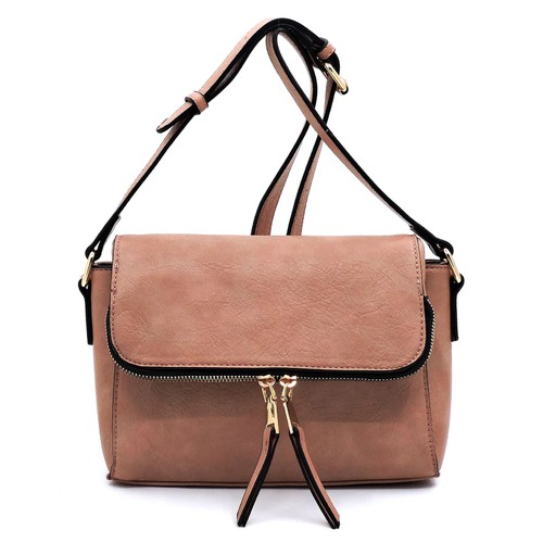 Fashion Zipper Flap Crossbody Bag - orangeshine.com
