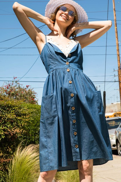 RETRO CHAMBRAY MIDI DRESS - orangeshine.com