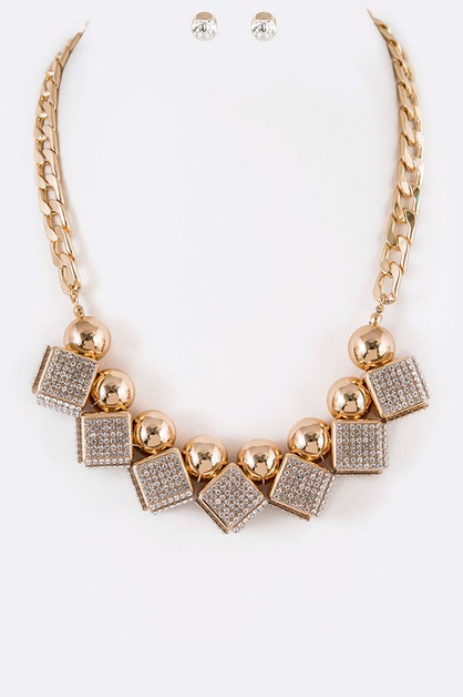 Crystal Cube Statement Necklace Set - orangeshine.com