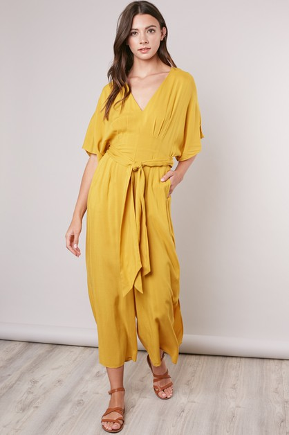BELTED WIDE-LEG JUMPSUIT - orangeshine.com