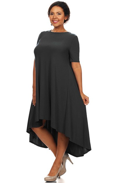 Classic Chic Plus Size High Low Dres - orangeshine.com