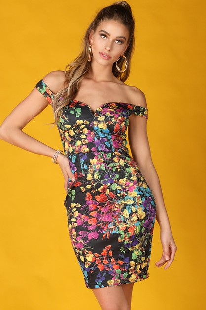 Multi Floral Print Off Shoulder Dres - orangeshine.com