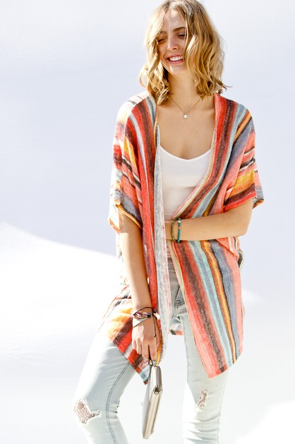 Vertical striped tie dye kimono card - orangeshine.com