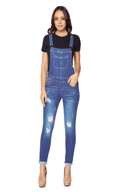 Women Destroyed Overalls Jeans - orangeshine.com