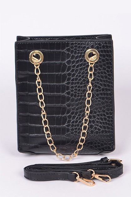 Croc Embossed Chain Handle Convertib - orangeshine.com