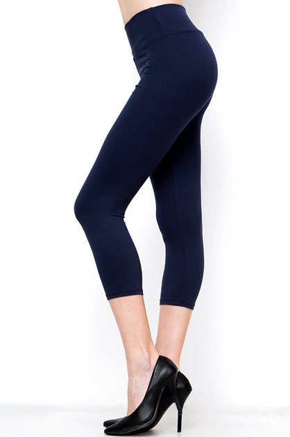 HIGH WAIST BUTTERY SOFT SOLID CAPRI  - orangeshine.com