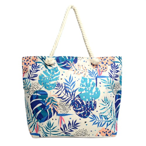 Blue Tropical Leaves Ladies Tote Bag - orangeshine.com
