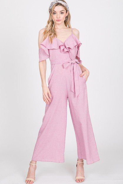RUFFLE COLD SHOULDER JUMPSUIT - orangeshine.com