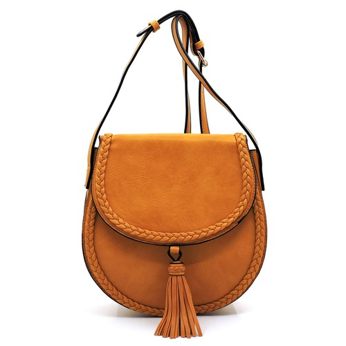 Braided Whipstitch Tassel Saddle Bag - orangeshine.com