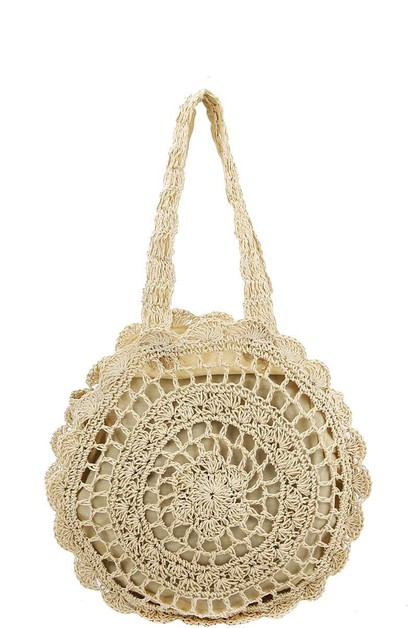 FASHION TRENDY WOVEN CIRCLE TOTE BAG - orangeshine.com
